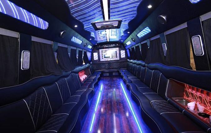 inside of limo with blue lights green bay wi
